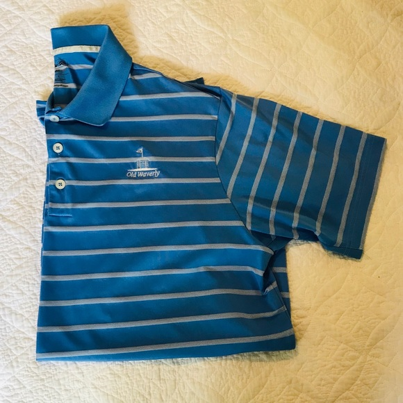 new images of details for lace up in Adidas Old Waverly Golf Club golf polo